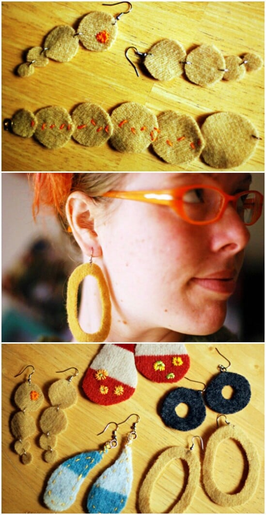 Recycled Sweater Jewelry - 50 Amazingly Creative Upcycling Projects For Old Sweaters