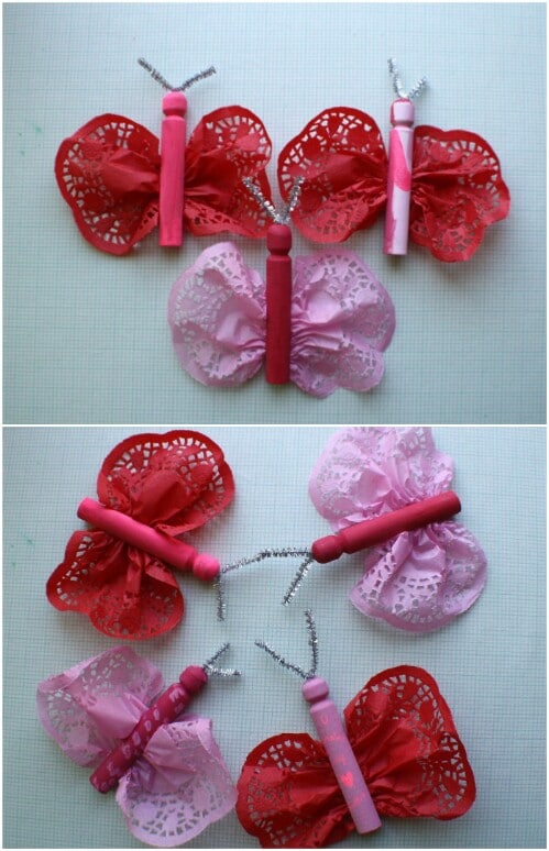 Doily Butterflies - 20 Adorable And Easy DIY Valentine's Day Projects For Kids