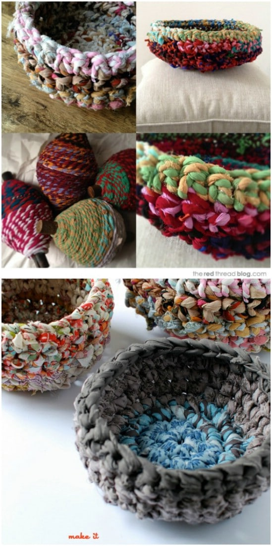 Crocheted Fabric Baskets