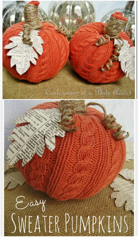 DIY Sweater Pumpkins - 50 Amazingly Creative Upcycling Projects For Old Sweaters