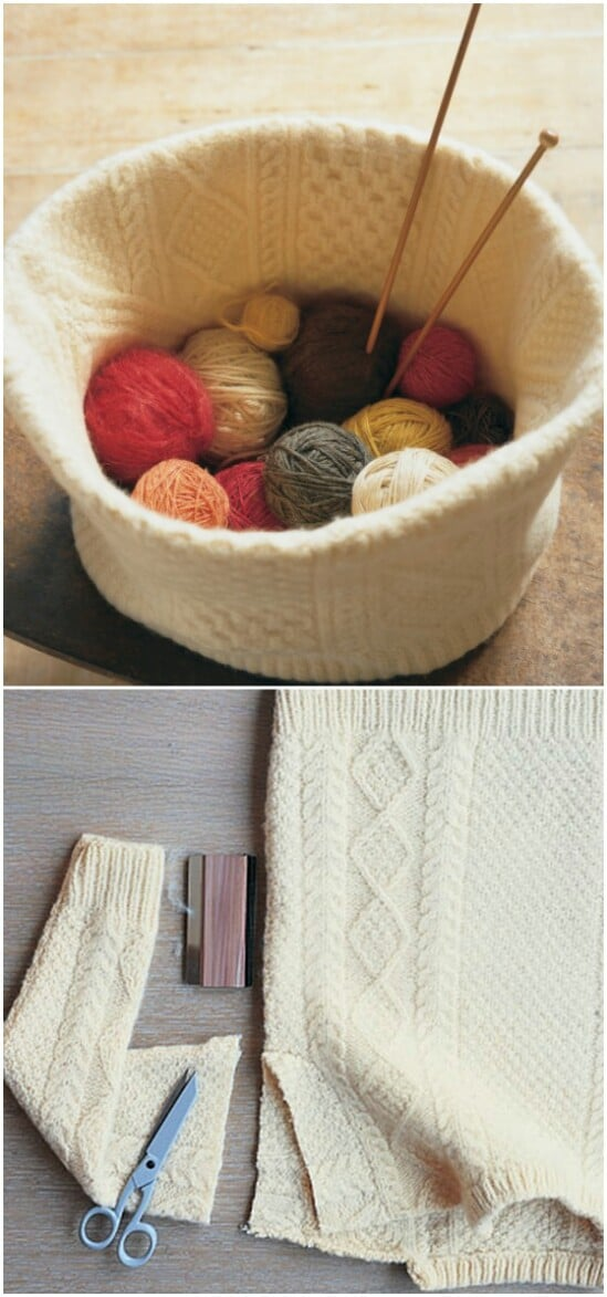 Felted Knitting Basket - 50 Amazingly Creative Upcycling Projects For Old Sweaters