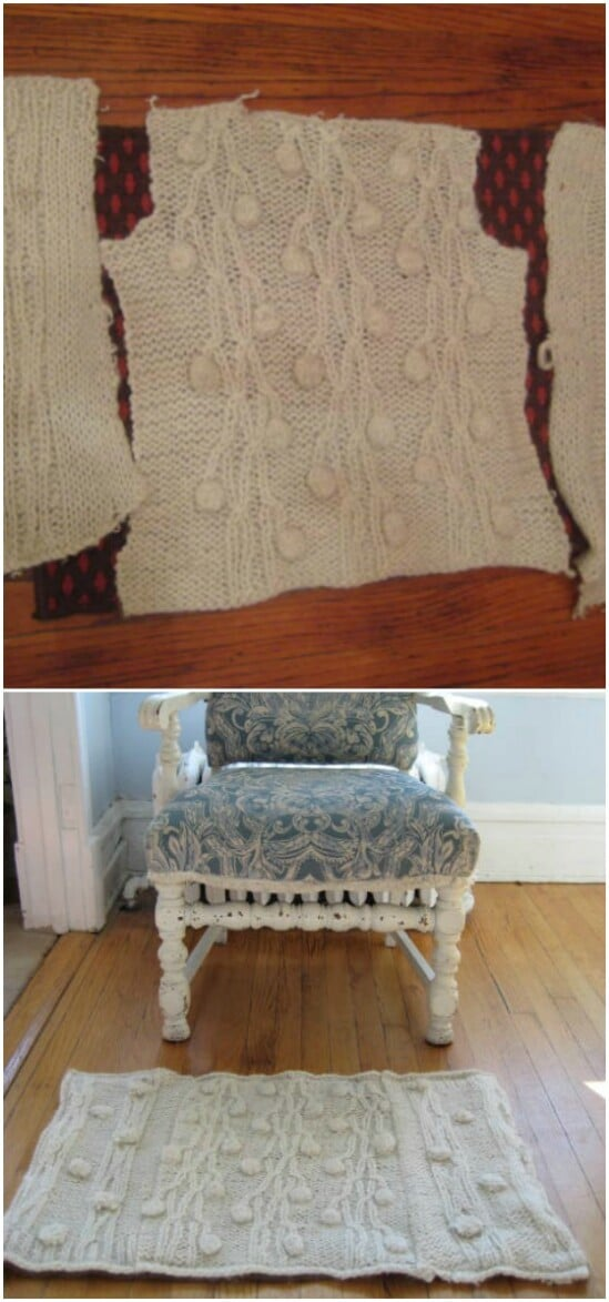 Recycled Sweater Rug - 50 Amazingly Creative Upcycling Projects For Old Sweaters