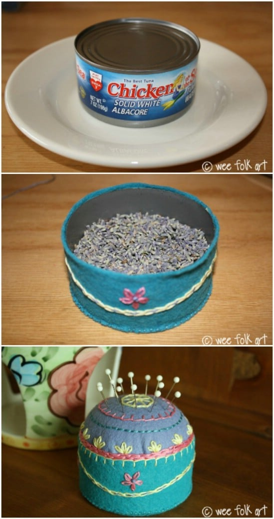Tuna Can Pincushion - 20 Frugally Genius Ways To Upcycle Empty Tuna Cans
