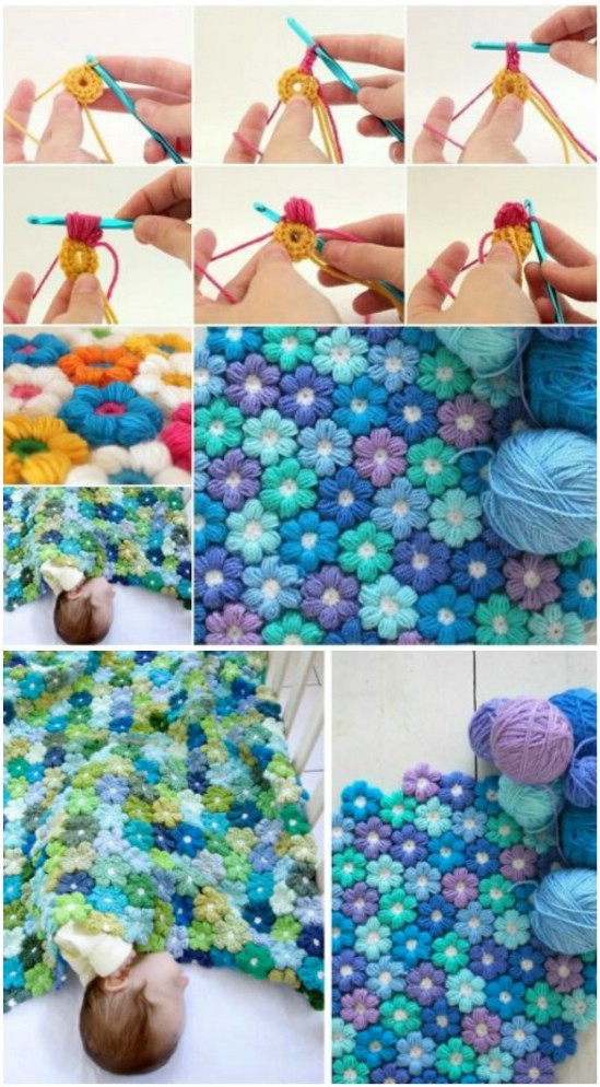 Gorgeous Puff Flower Blanket