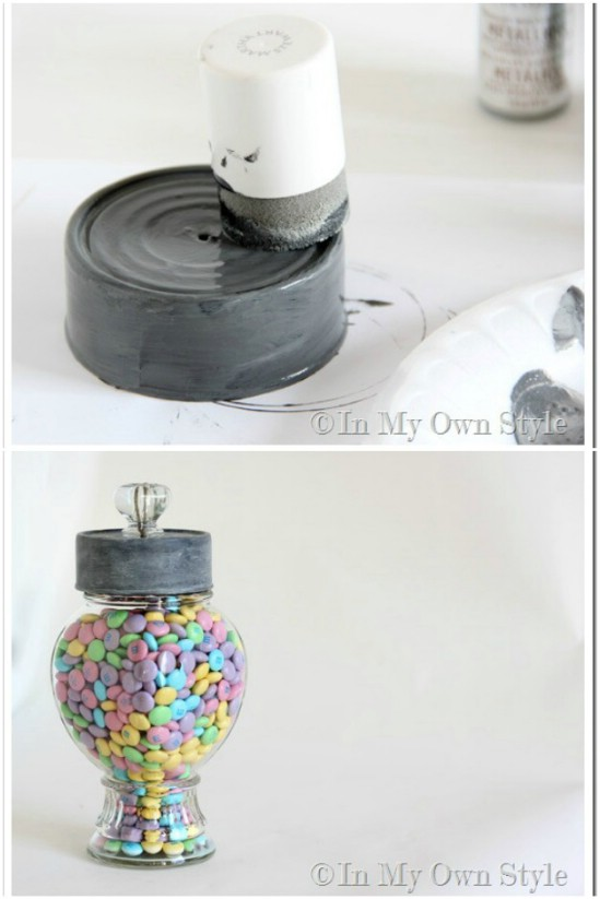 Faux Zinc Candy Jar Top - 20 Frugally Genius Ways To Upcycle Empty Tuna Cans