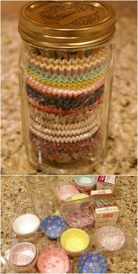 Cupcake Liner Storage - 30 Mind Blowing DIY Mason Jar Organizers You'll Want To Make Right Away