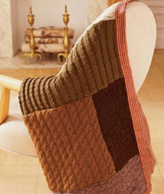 Cozy Sweater Throw - 50 Amazingly Creative Upcycling Projects For Old Sweaters