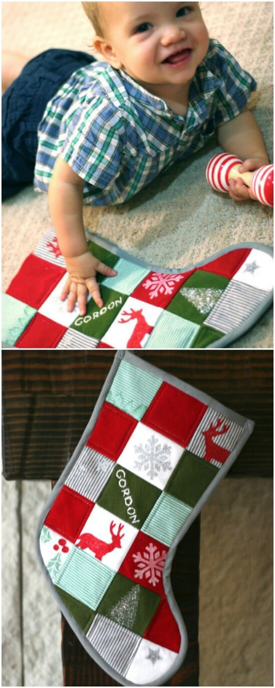 Baby Onesie Christmas Stocking - 20 Adorably Creative Upcycling Projects To Repurpose Old Baby Clothes