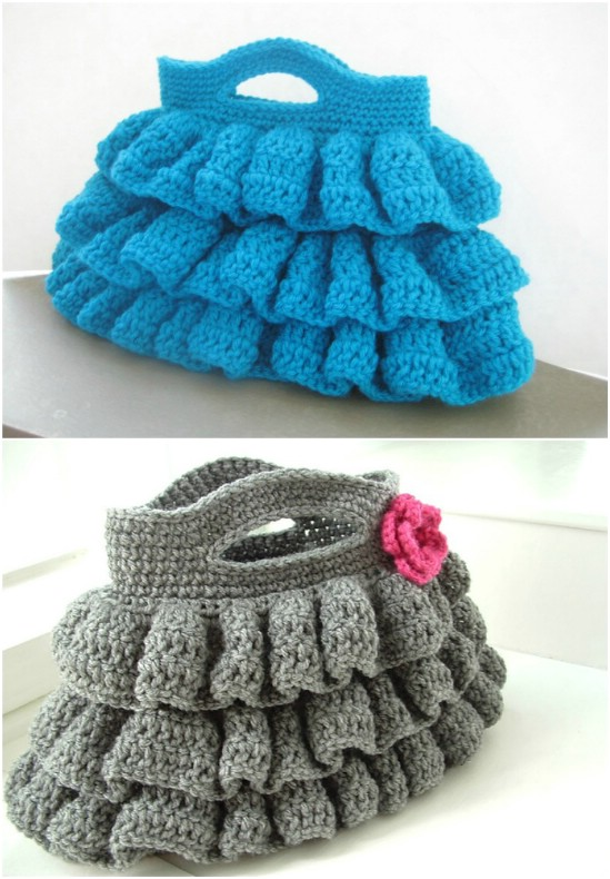 Easy Ruffled Crochet Bag