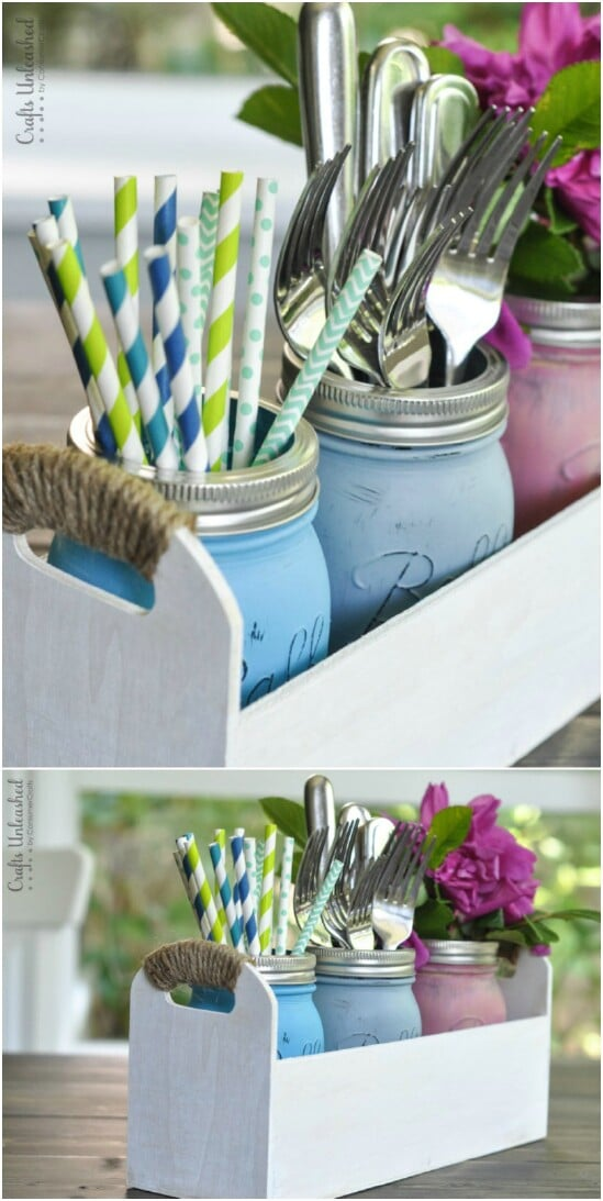 Utensil Caddy - 30 Mind Blowing DIY Mason Jar Organizers You'll Want To Make Right Away