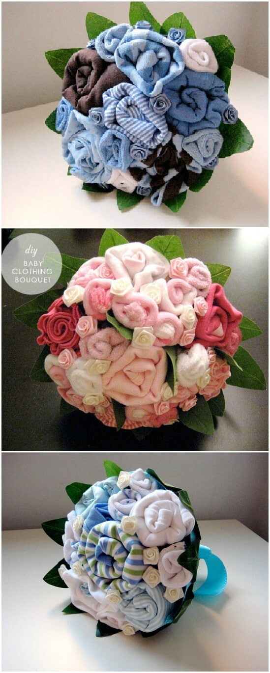 Baby Clothes Bouquets - 20 Adorably Creative Upcycling Projects To Repurpose Old Baby Clothes