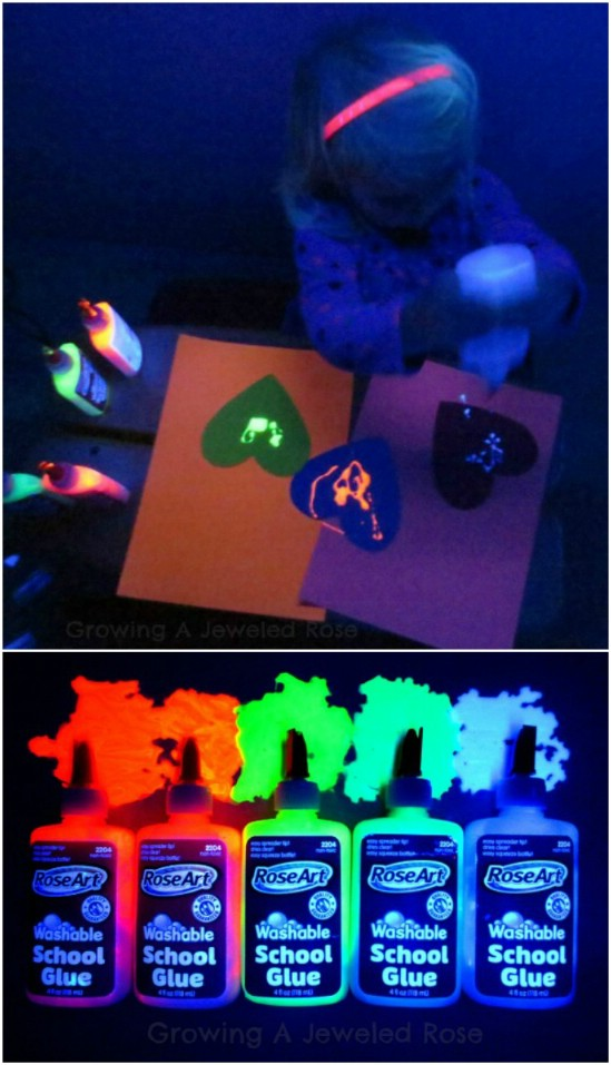 Two Ingredient Glowing Glue - 25 Amazingly Fun Glow In The Dark DIY Projects For Kids