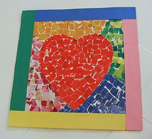 Mosaic Heart - 20 Adorable And Easy DIY Valentine's Day Projects For Kids