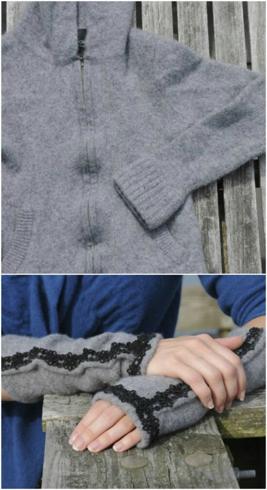 DIY Fingerless Gloves - 50 Amazingly Creative Upcycling Projects For Old Sweaters