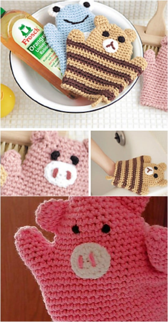 Fun Animal Shaped Wash Mitts
