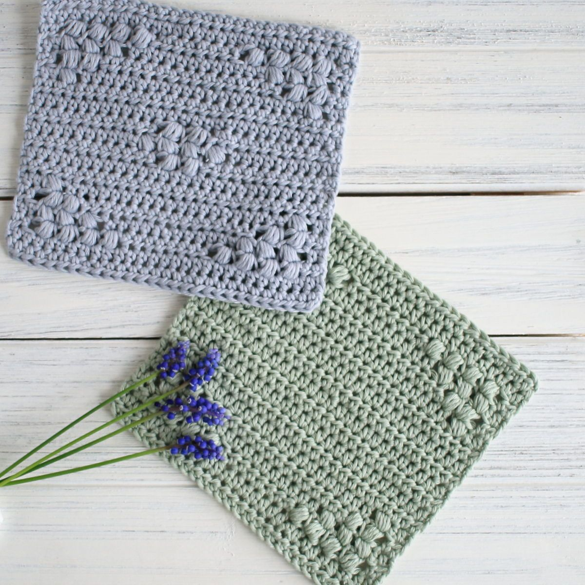 blue and green dishcloth