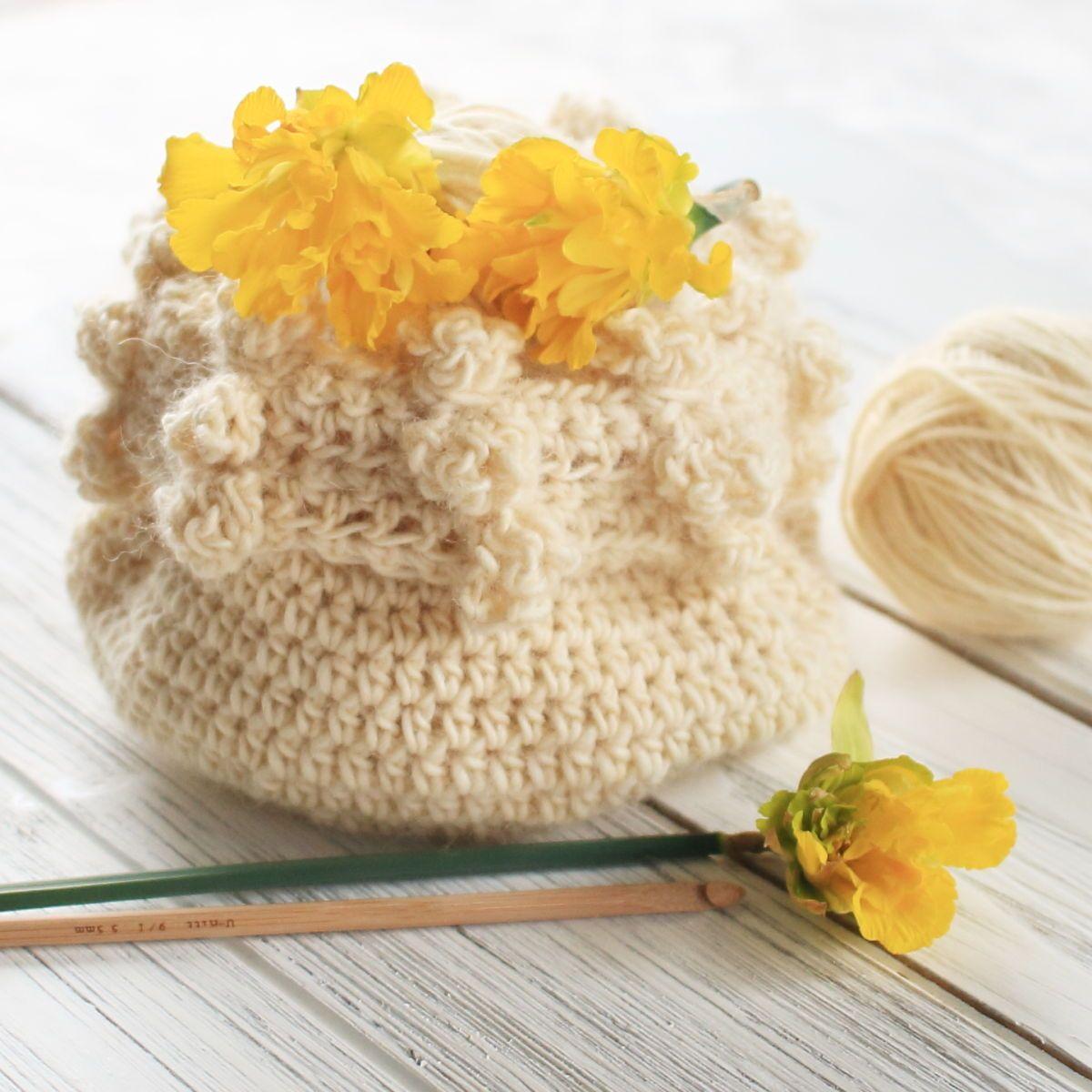 Cream crochet basket