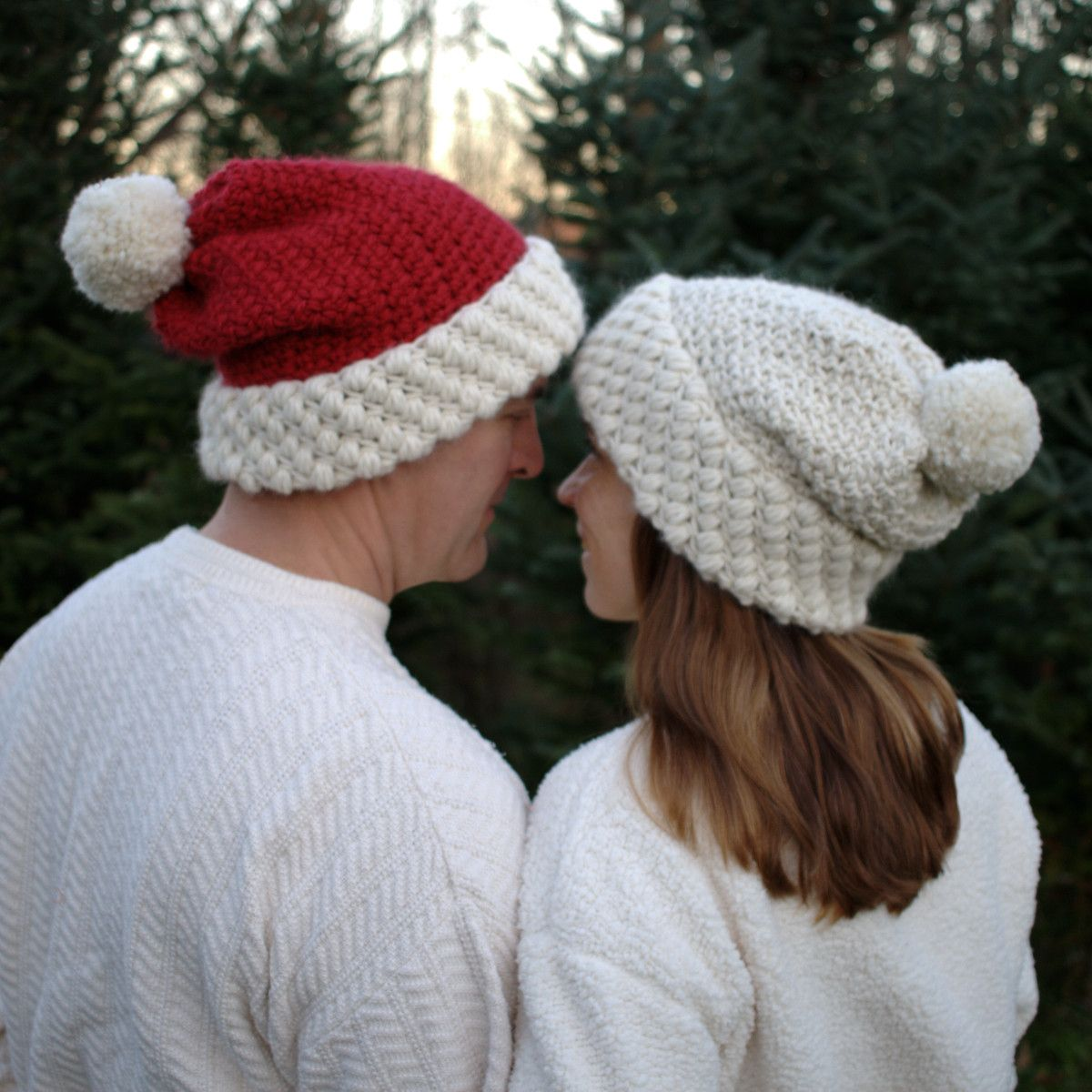 Red and white hat with pom pom