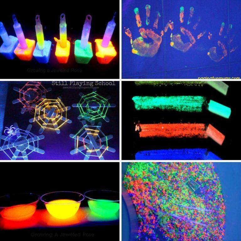 Glow in the dark craft collage