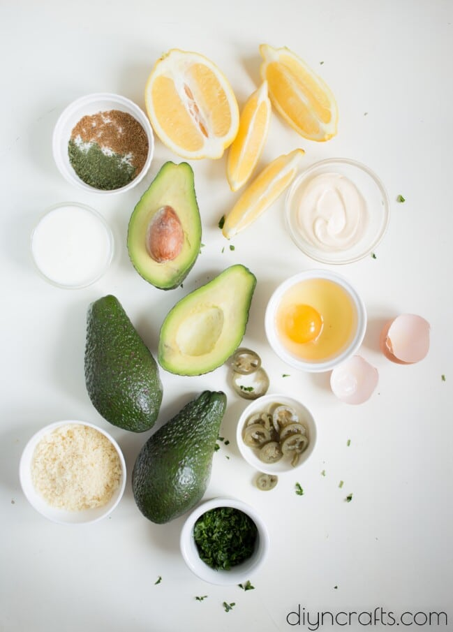 Ingredients for baked avocado.