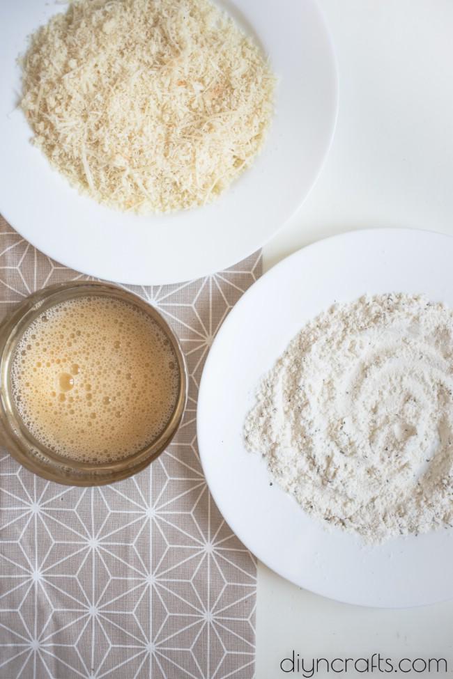 Prepared ingredients for breadcrumbs.