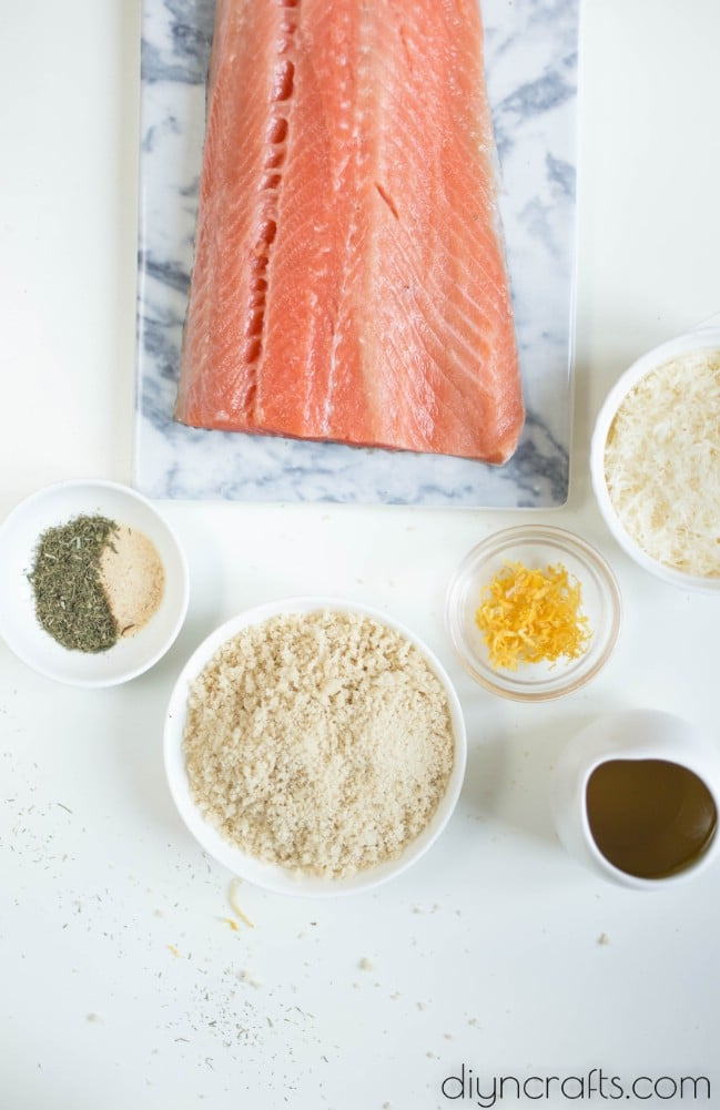 Garlic parmesan salmon ingredients.