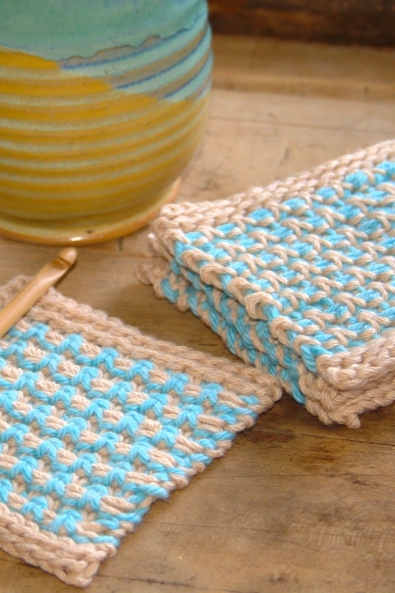 Blue and orange crochet coasters