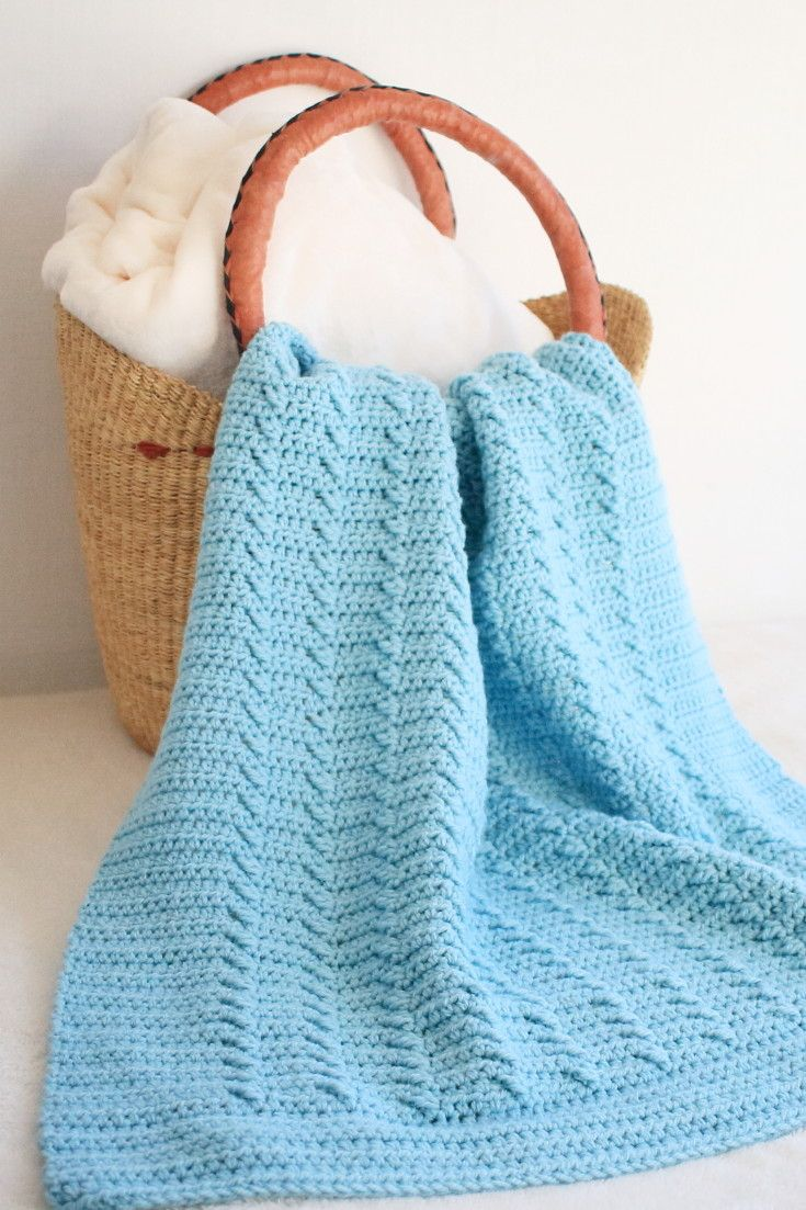 Bright blue blanket in basket