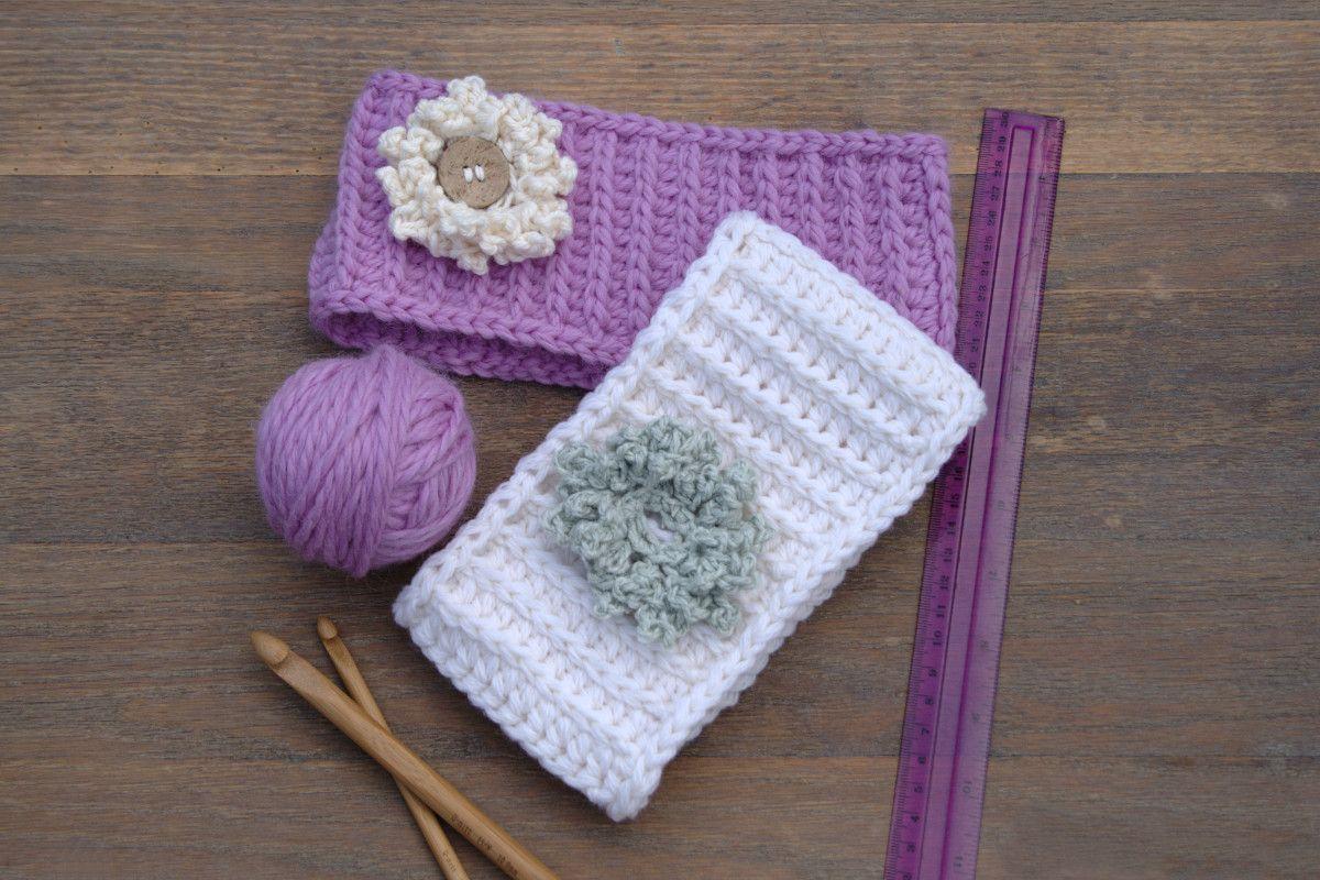 Purple grey and white crochet headbands