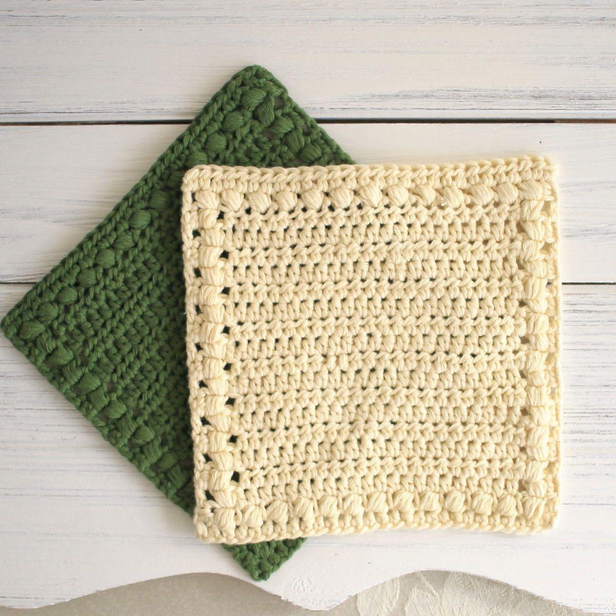 Green and cream washcloth