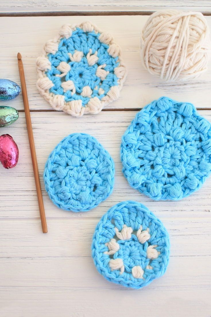 Blue crochet egg