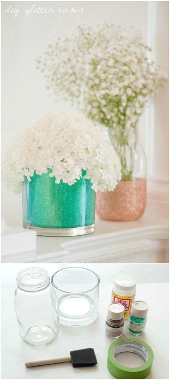 Glitter Dipped Jar Vases