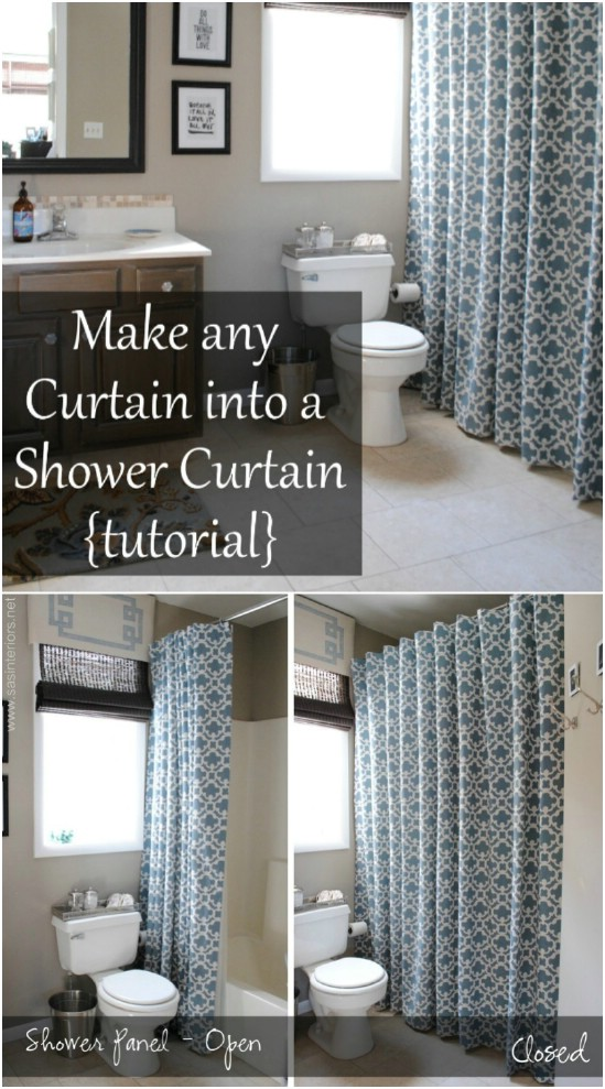DIY Fabric Shower Curtain From Curtain Panels