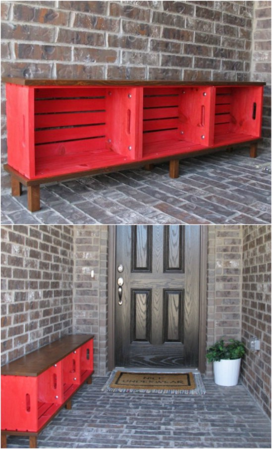 Colorful Wooden Crate Bench