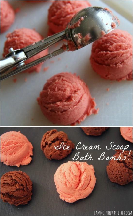 DIY Ice Cream Scoop Bath Bombs