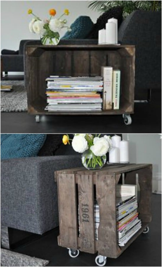 DIY Rolling Magazine Rack