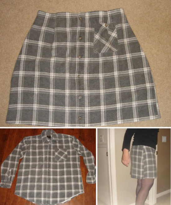Repurposed Flannel Shirt Skirt