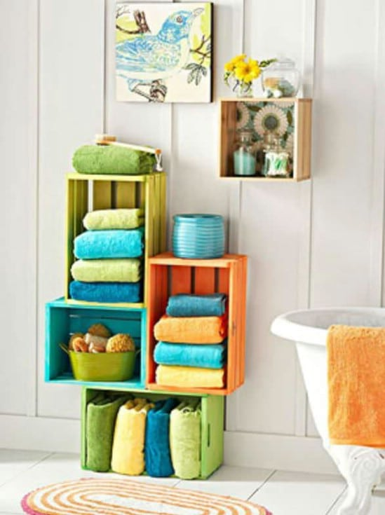 Colorful Bathroom Storage