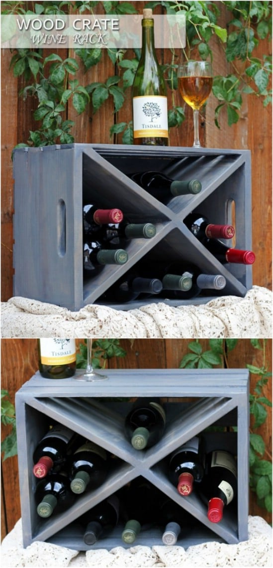 Repurposed Wooden Crate Wine Rack