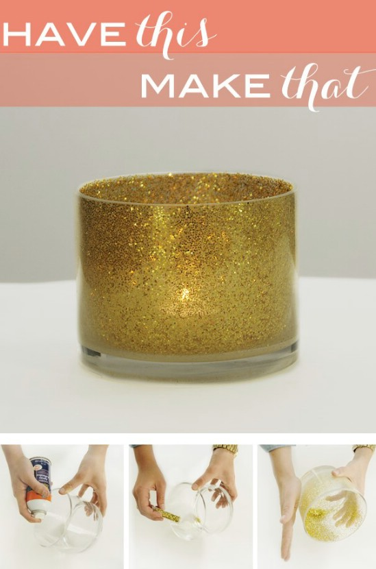 DIY Glittery Votives