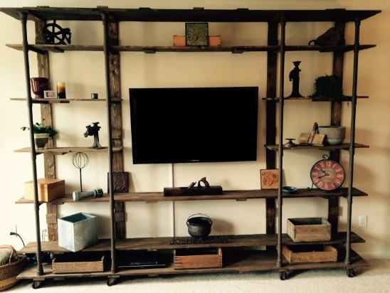 Go For a Vintage Feel with an Industrial Entertainment Center.