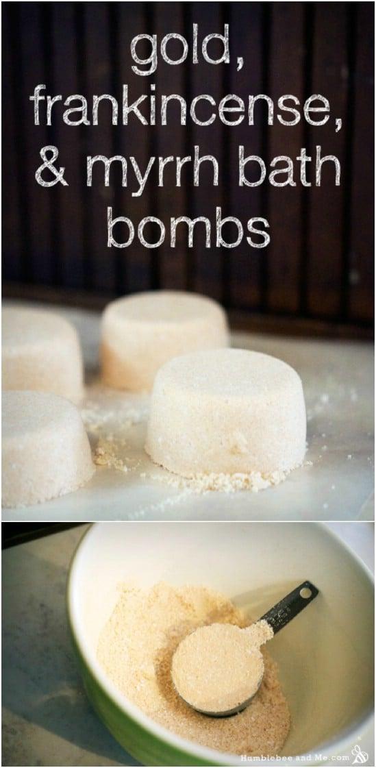 Gold, Frankincense, and Myrrh Bath Bombs