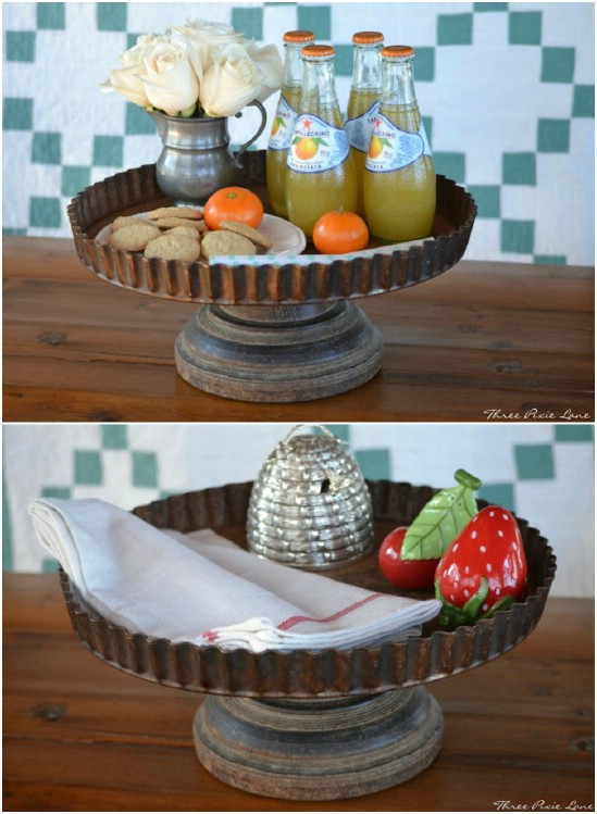 Old Quiche Pan Cake Stand