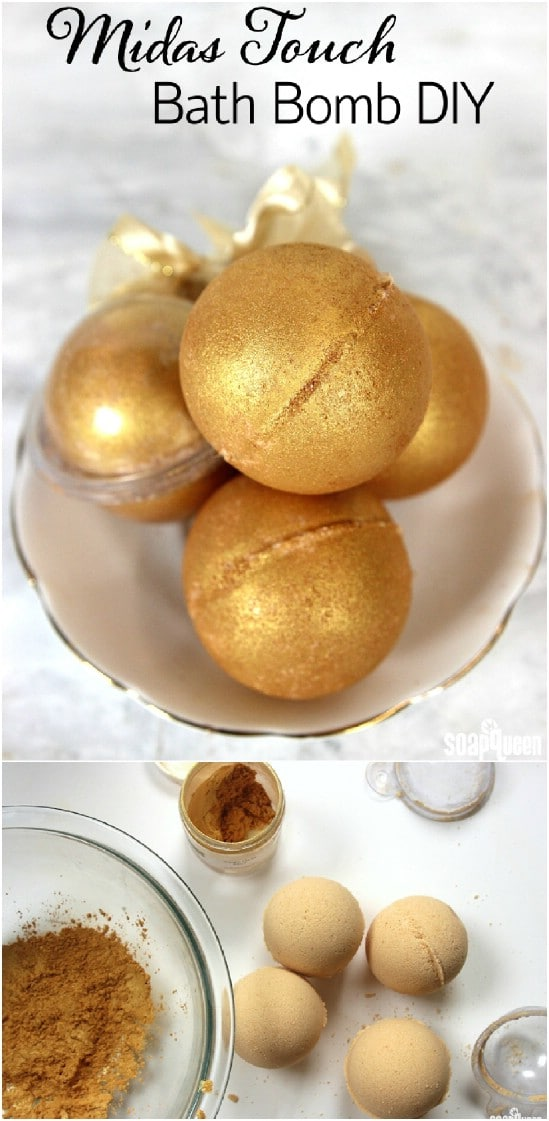 Golden Fizzy DIY Bath Bombs