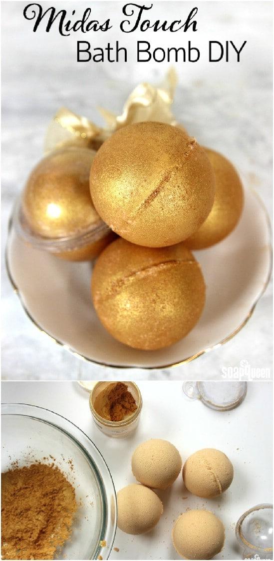 Golden Fizzy DIY Bath Bombs