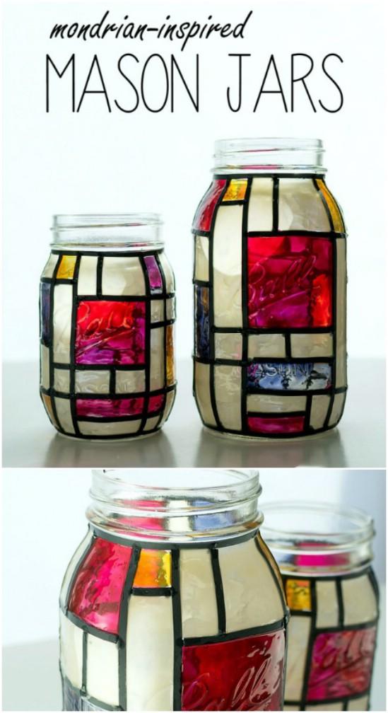 Stained Glass Mason Jar Art