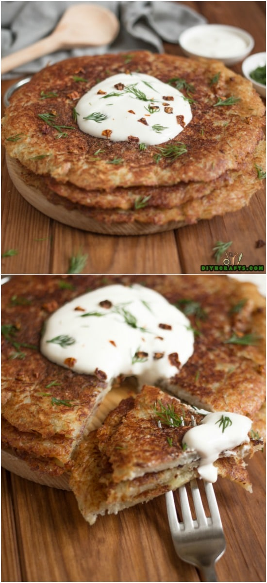 Crispy Potato Pancakes Put A Delicious Spin On A Traditional Breakfast Recipe { Recipe + Instructions } Photos by DIYnCrafts team.