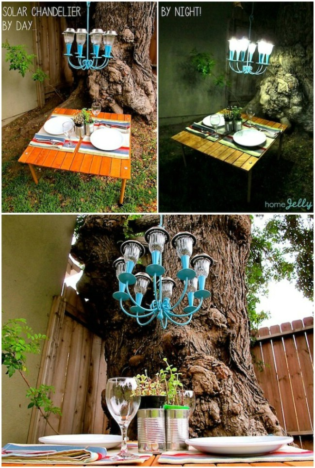 Gorgeous DIY Solar Light Chandelier