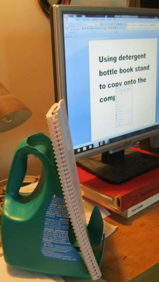 Upcycled Detergent Bottle Book Stand