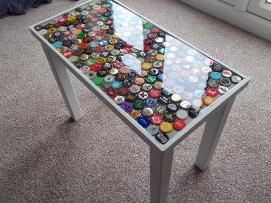 How to Create a Colorful Table Using Old Bottle Caps { Perfect Man Cave Furniture }